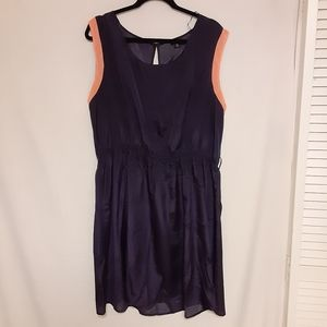 Rhapsody Size 2X Navy Blue Coral Polka dot Dress